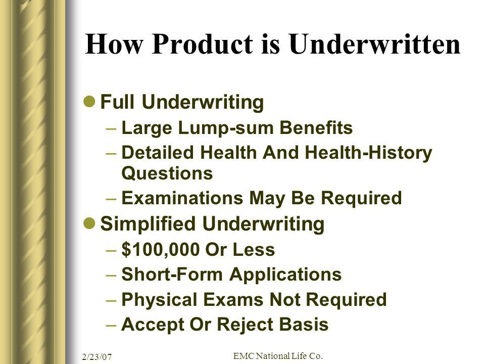 How Product is Underwritten