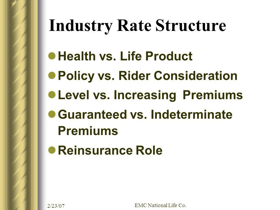 Industry Rate Structure