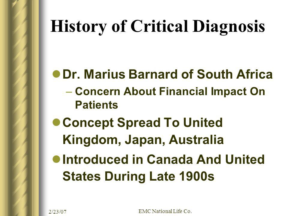 History of Critical Diagnosis