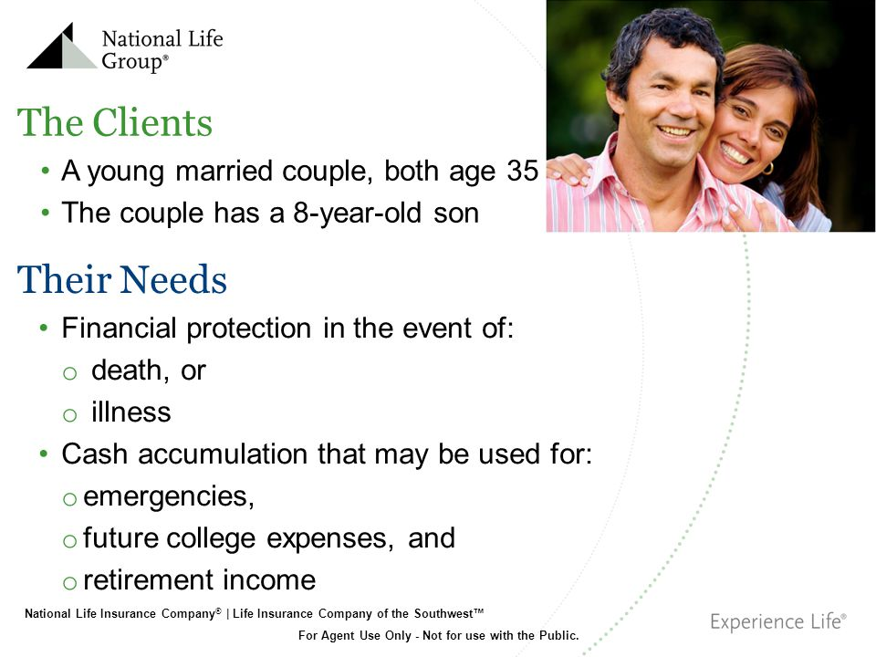 The Clients Their Needs A young married couple, both age 35