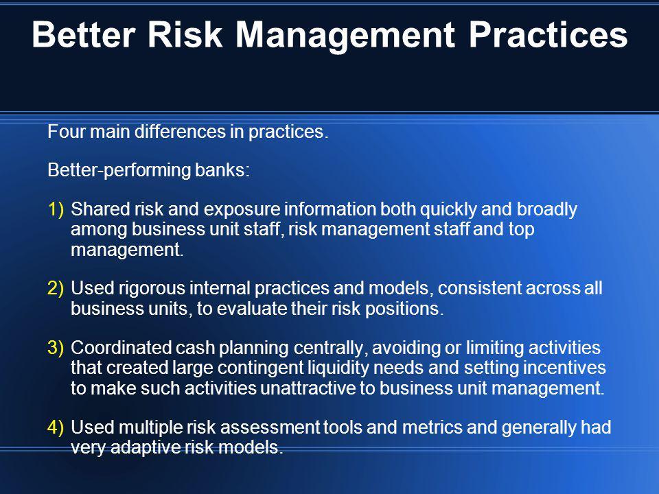 Better Risk Management Practices