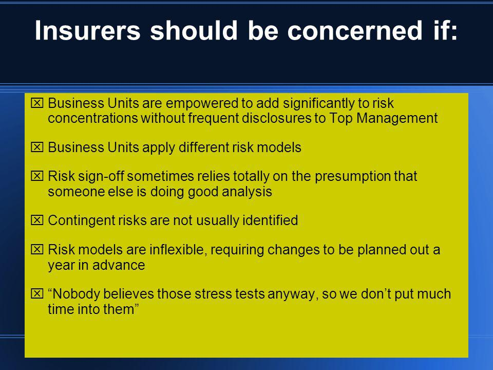Insurers should be concerned if: