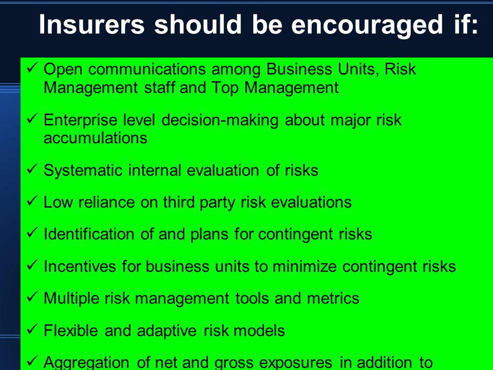 Insurers should be encouraged if: