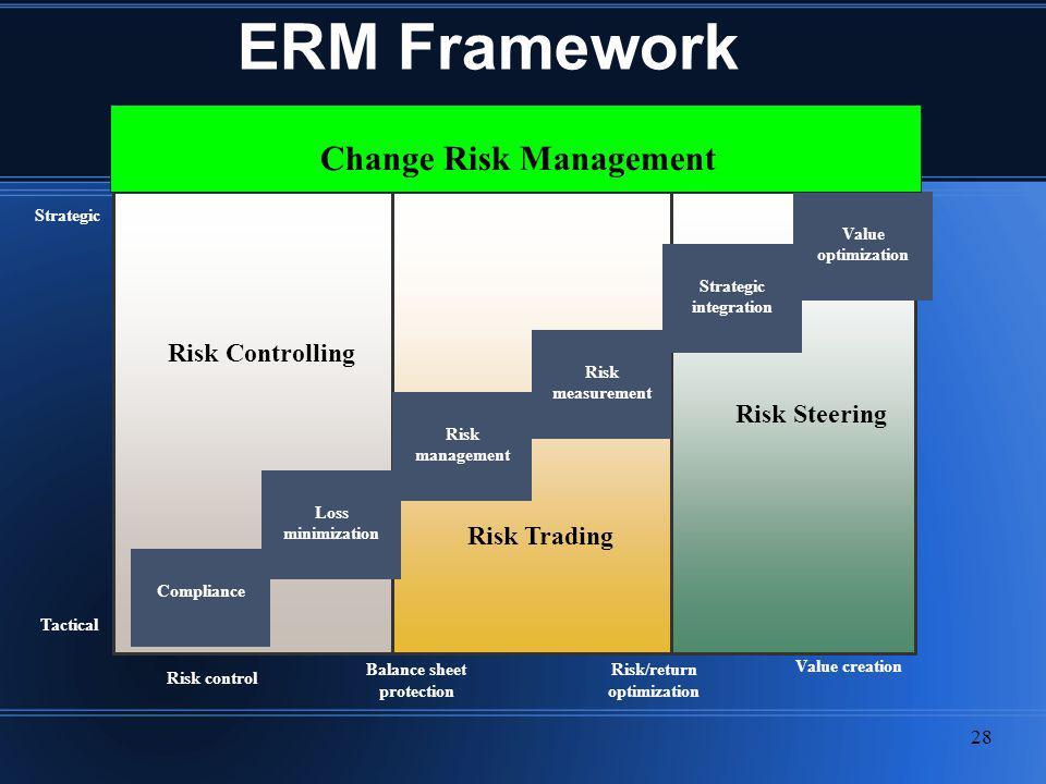 ERM Framework Change Risk Management Risk Controlling Risk Steering