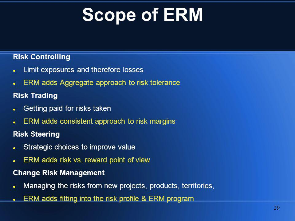 Scope of ERM Risk Controlling Limit exposures and therefore losses