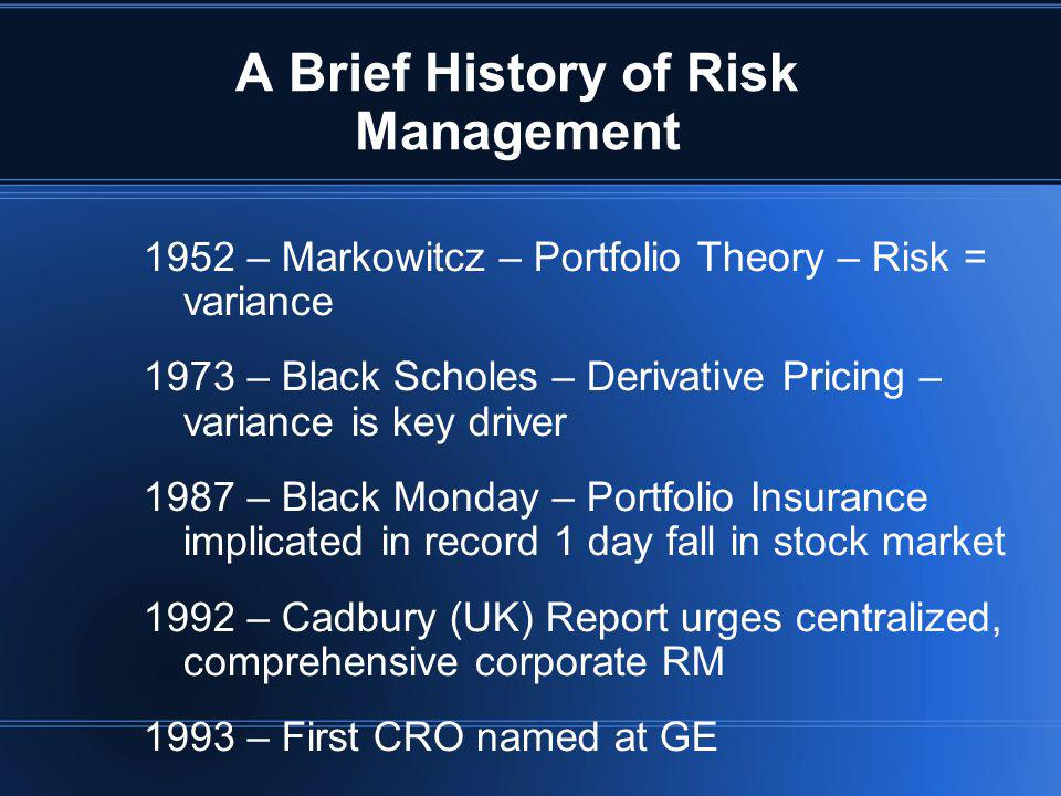 A Brief History of Risk Management
