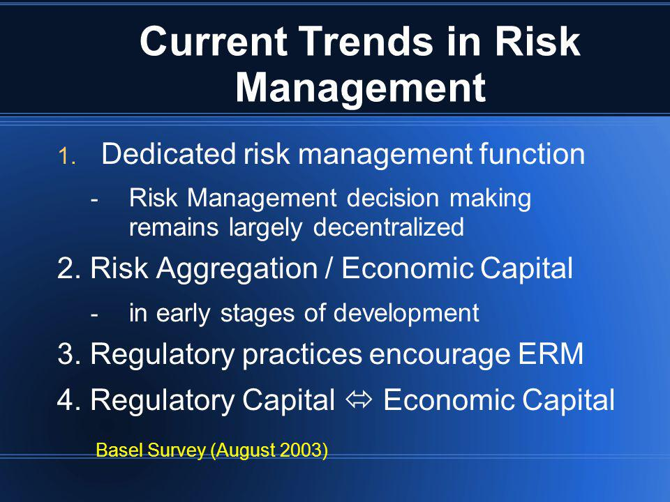 Current Trends in Risk Management