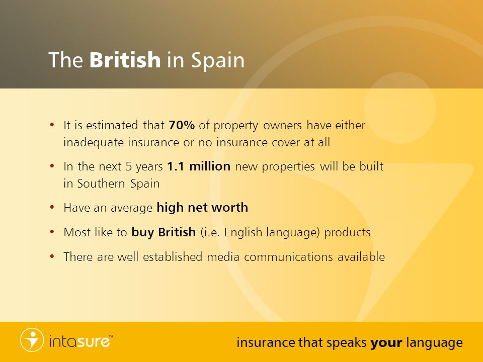 The British in Spain It is estimated that 70% of property owners have either inadequate insurance or no insurance cover at all.