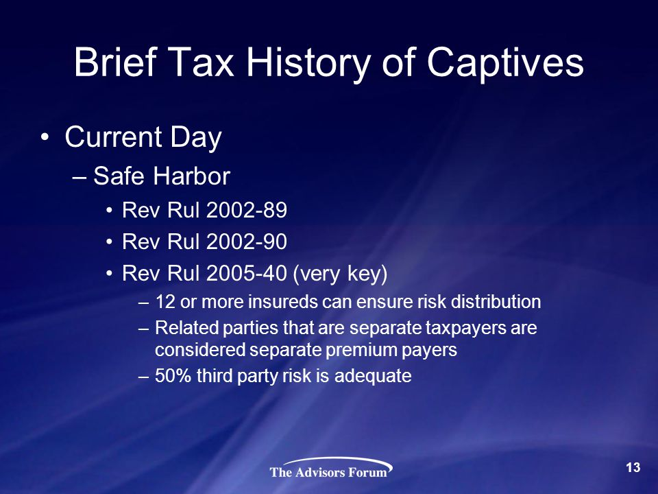 Brief Tax History of Captives