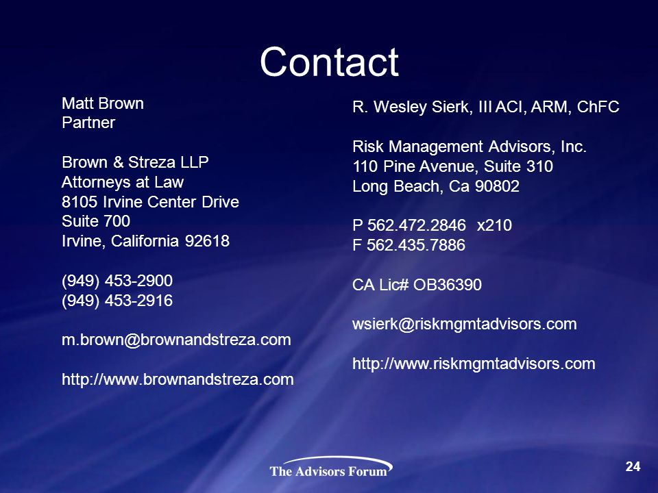 Contact Matt Brown Partner Brown & Streza LLP Attorneys at Law