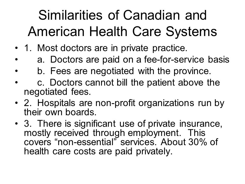 Similarities of Canadian and American Health Care Systems