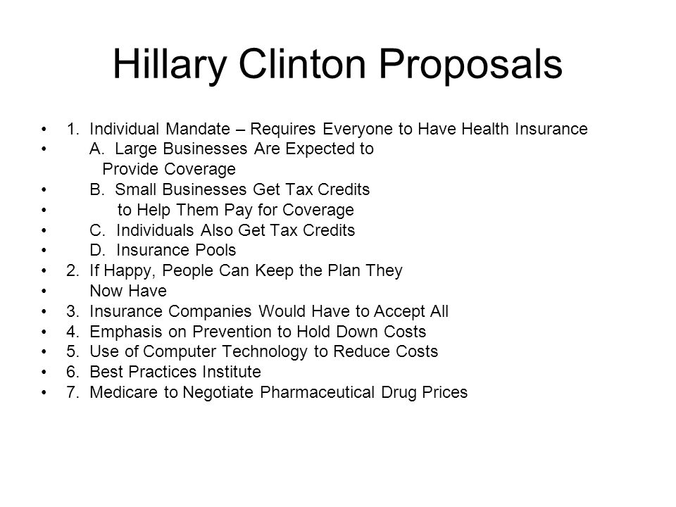 Hillary Clinton Proposals