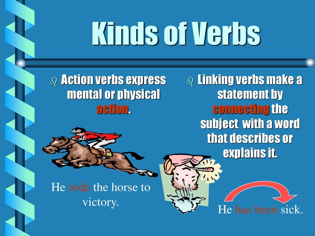 Kinds of Verbs Action verbs express mental or physical action.