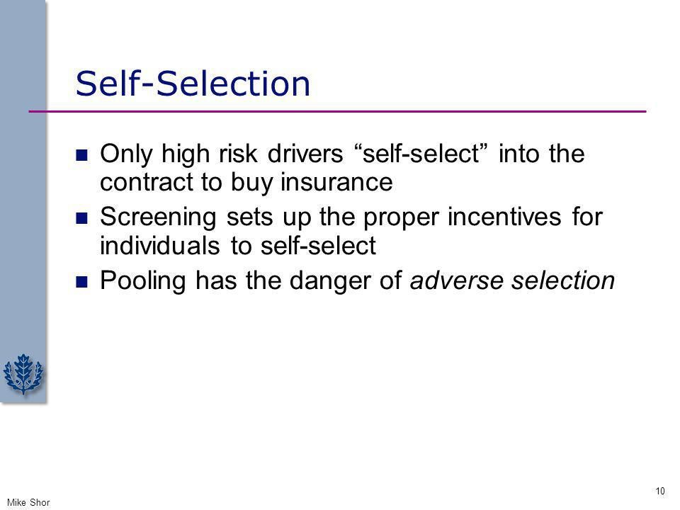 Self-Selection Only high risk drivers self-select into the contract to buy insurance.