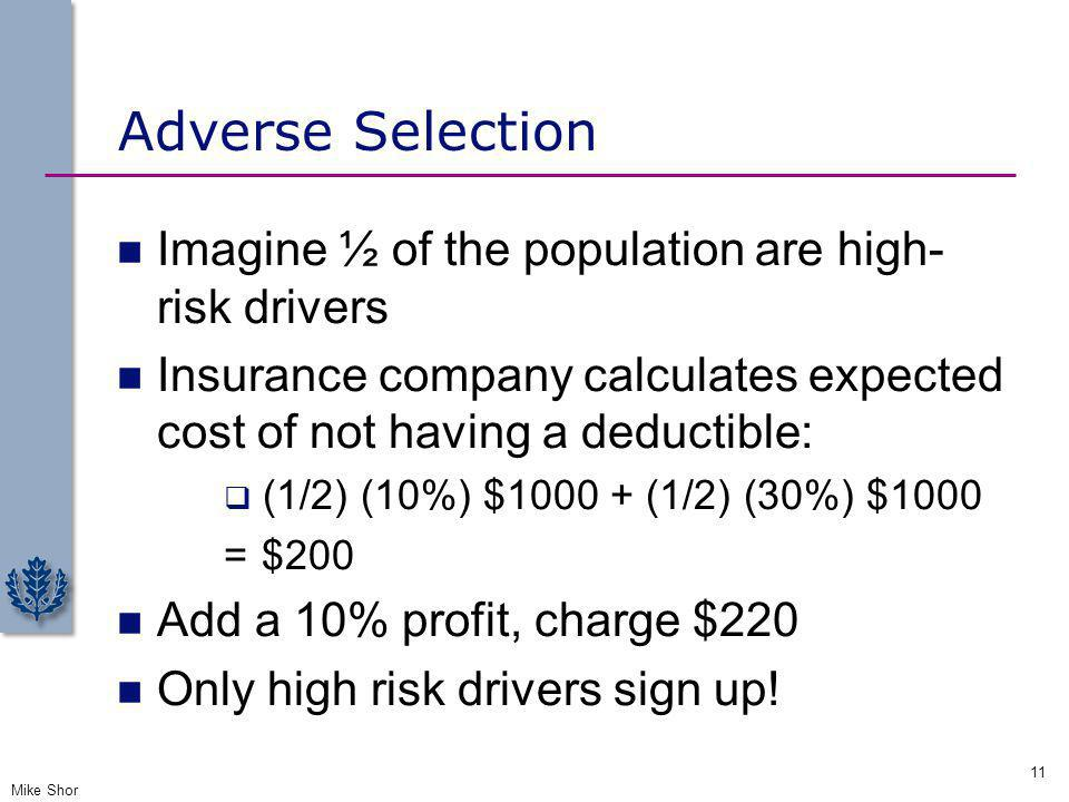Adverse Selection Imagine ½ of the population are high-risk drivers