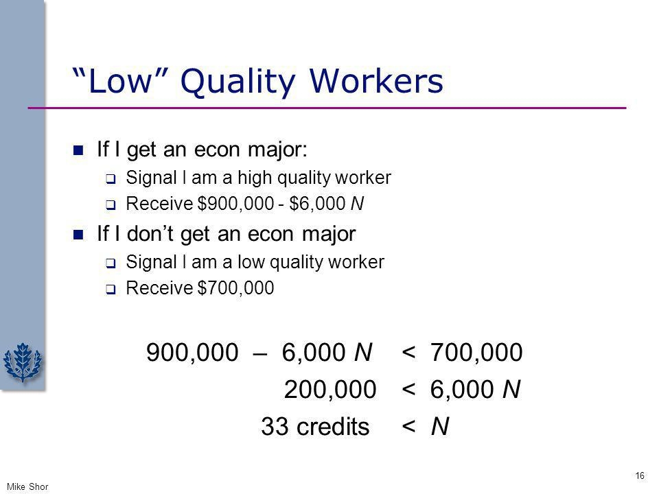 Low Quality Workers 900,000 – 6,000 N < 700,000