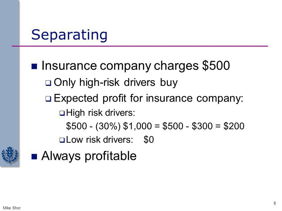 Separating Insurance company charges $500 Always profitable