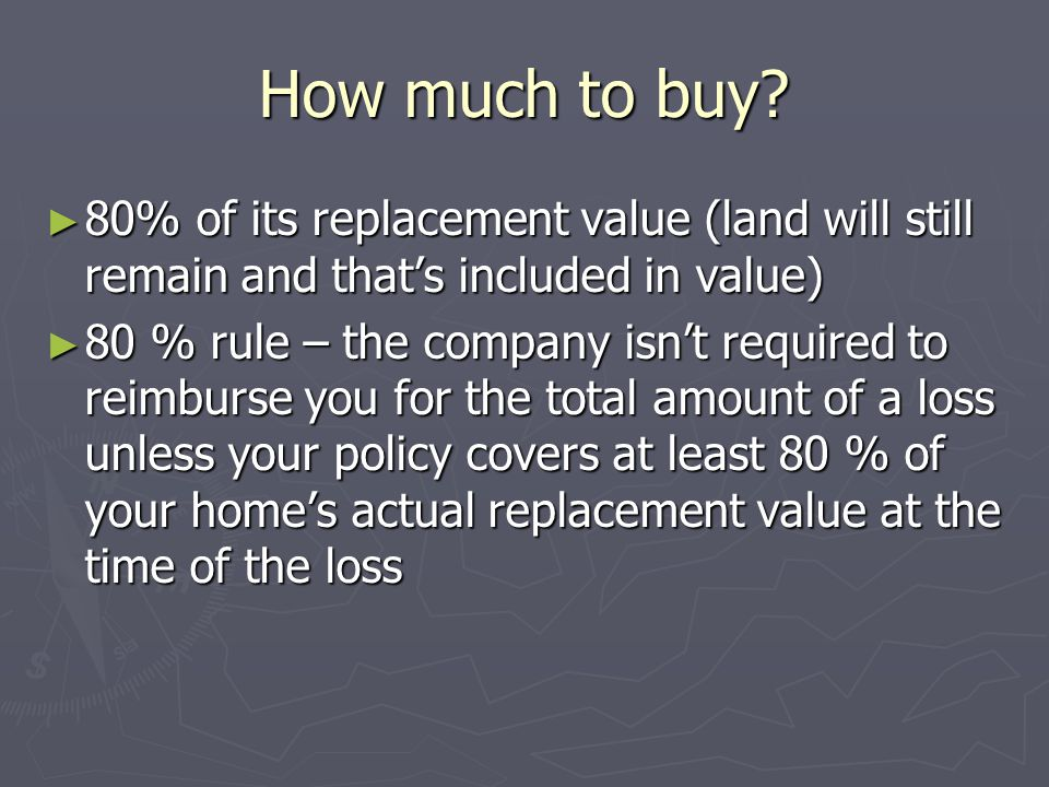 How much to buy 80% of its replacement value (land will still remain and that's included in value)