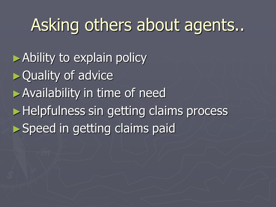 Asking others about agents..