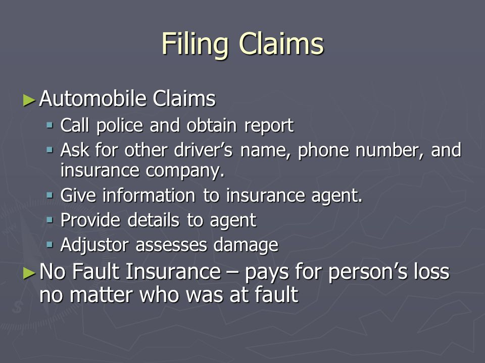 Filing Claims Automobile Claims