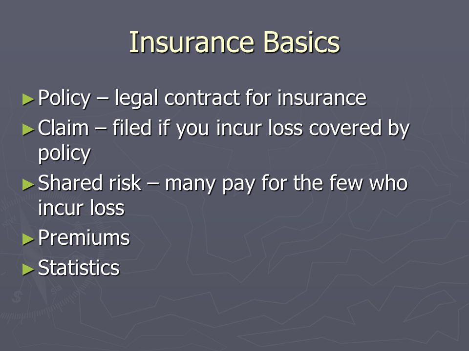 Insurance Basics Policy – legal contract for insurance