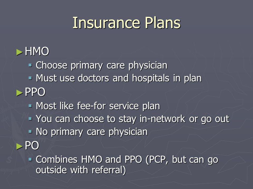 Insurance Plans HMO PPO PO Choose primary care physician