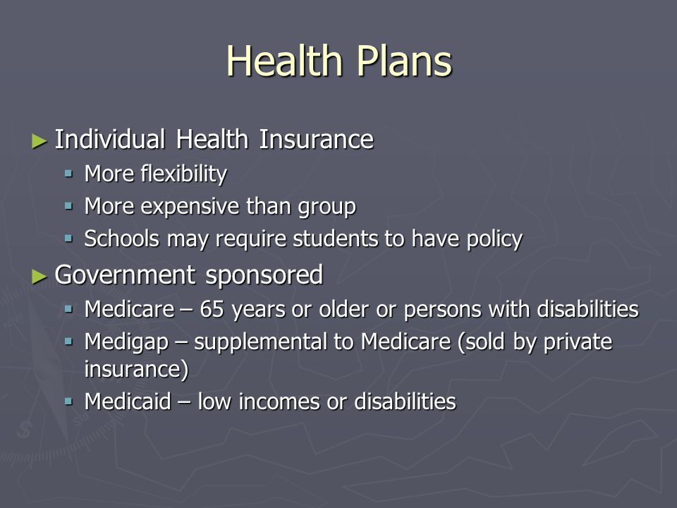 Health Plans Individual Health Insurance Government sponsored