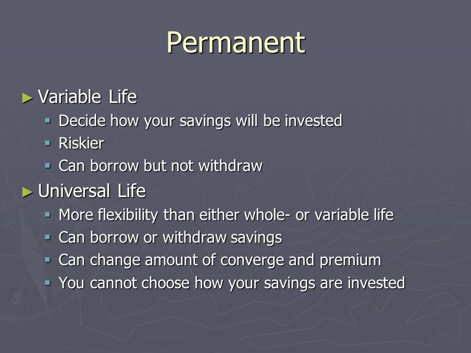 Permanent Variable Life Universal Life