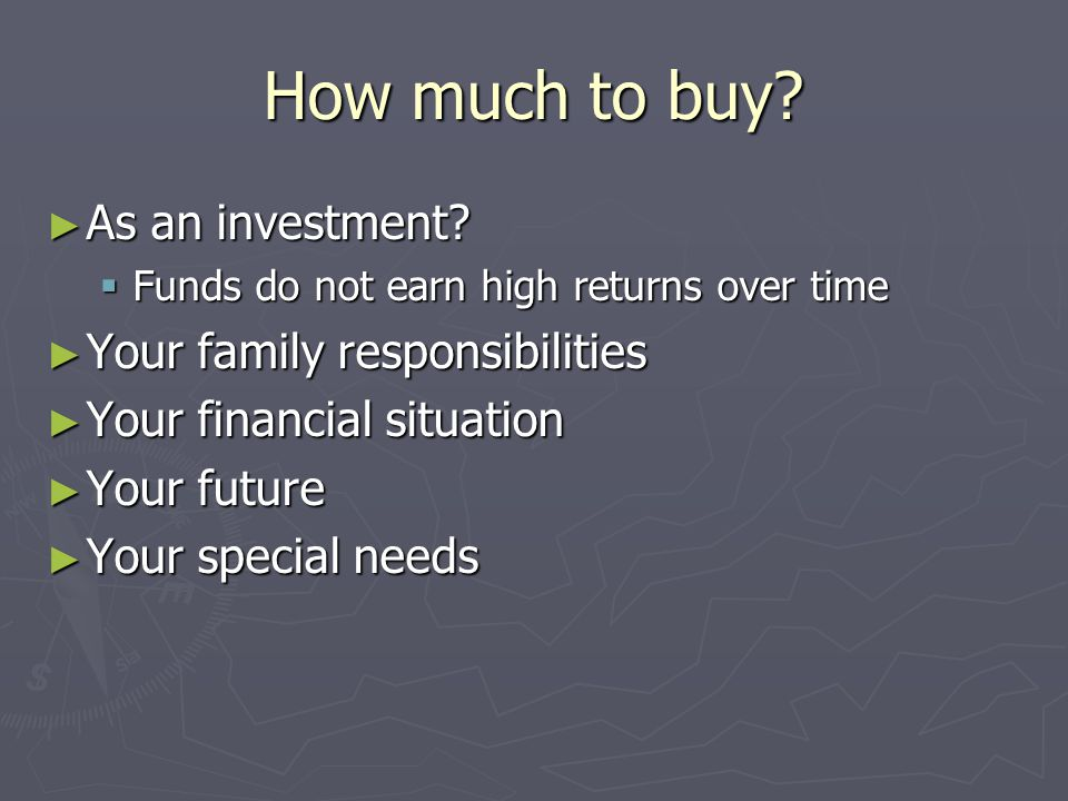 How much to buy As an investment Your family responsibilities