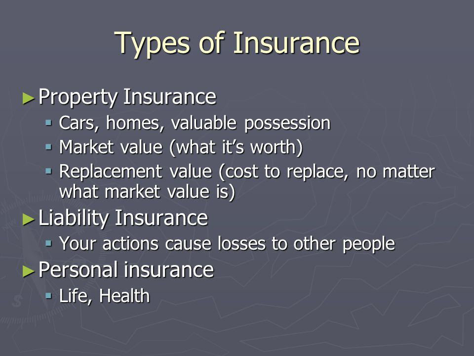 Types of Insurance Property Insurance Liability Insurance