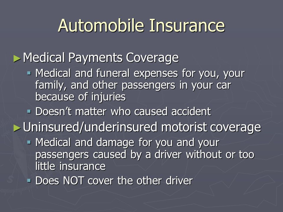 Automobile Insurance Medical Payments Coverage