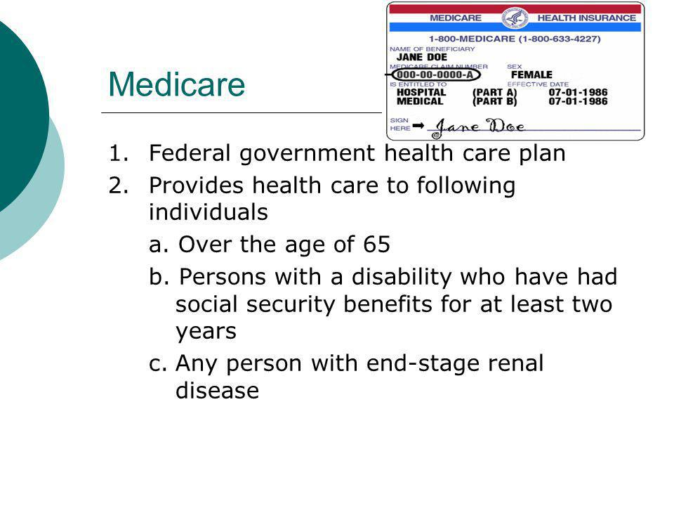 Medicare 1. Federal government health care plan