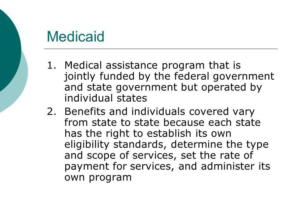 Medicaid 1. Medical assistance program that is jointly funded by the federal government and state government but operated by individual states.