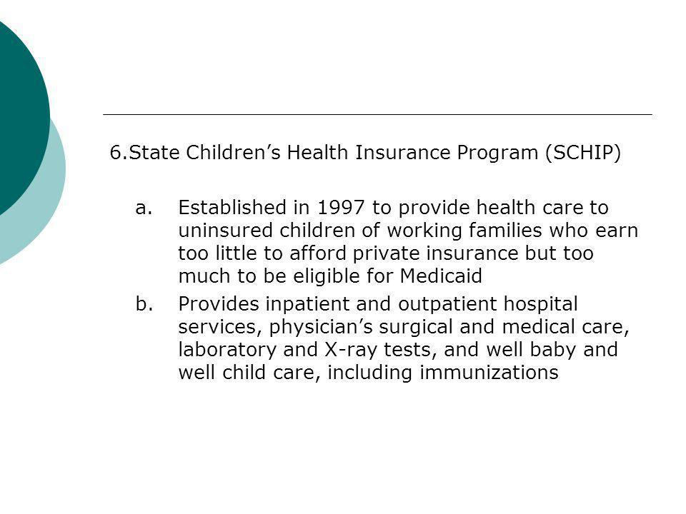 6. State Children's Health Insurance Program (SCHIP) a