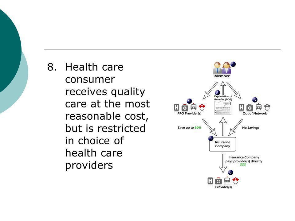 8. Health care consumer receives quality care at the most reasonable cost, but is restricted in choice of health care providers