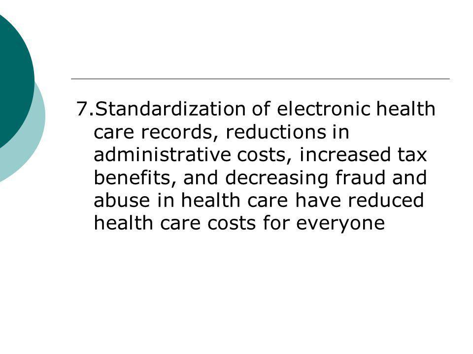 7.Standardization of electronic health care records, reductions in administrative costs, increased tax benefits, and decreasing fraud and abuse in health care have reduced health care costs for everyone
