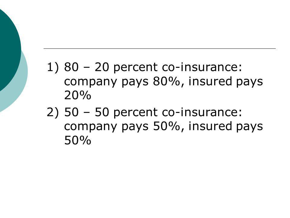 1) 80 – 20 percent co-insurance: company pays 80%, insured pays 20%