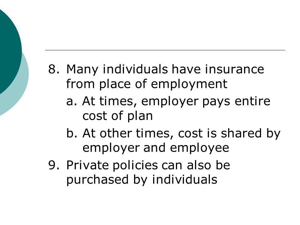 8. Many individuals have insurance from place of employment
