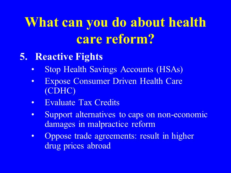 What can you do about health care reform