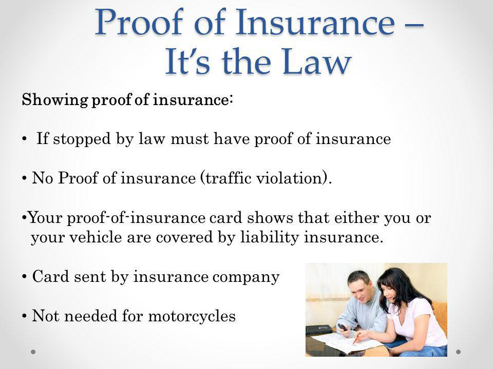 Proof of Insurance – It's the Law