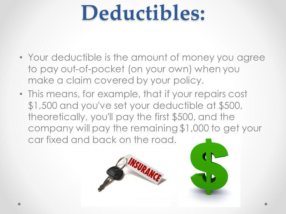 Deductibles: Your deductible is the amount of money you agree to pay out-of-pocket (on your own) when you make a claim covered by your policy.