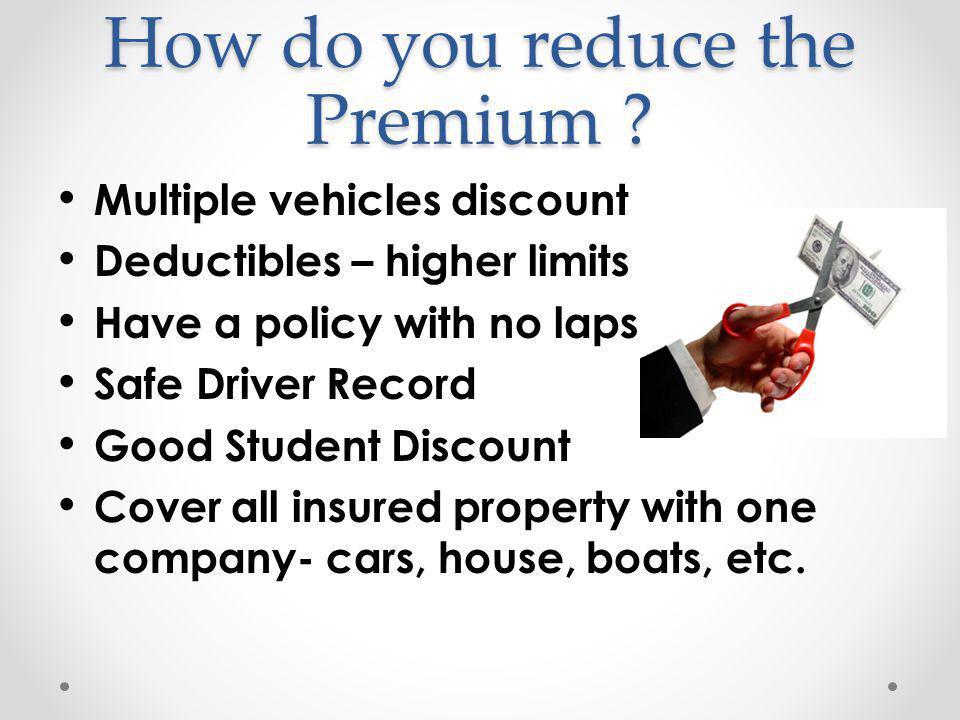 How do you reduce the Premium