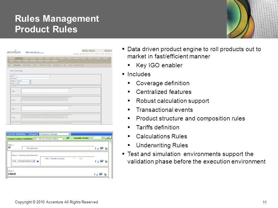 Rules Management Product Rules