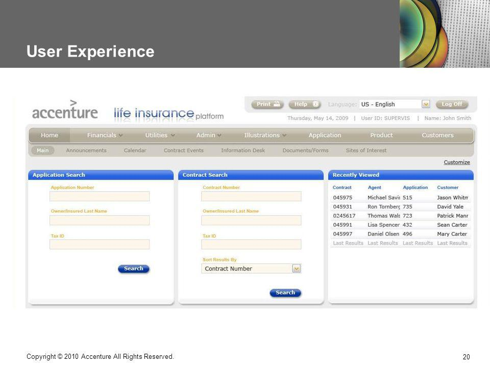 User Experience Copyright © 2010 Accenture All Rights Reserved.