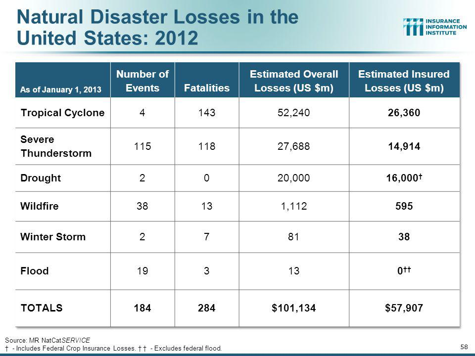 Natural Disaster Losses in the United States: 2012