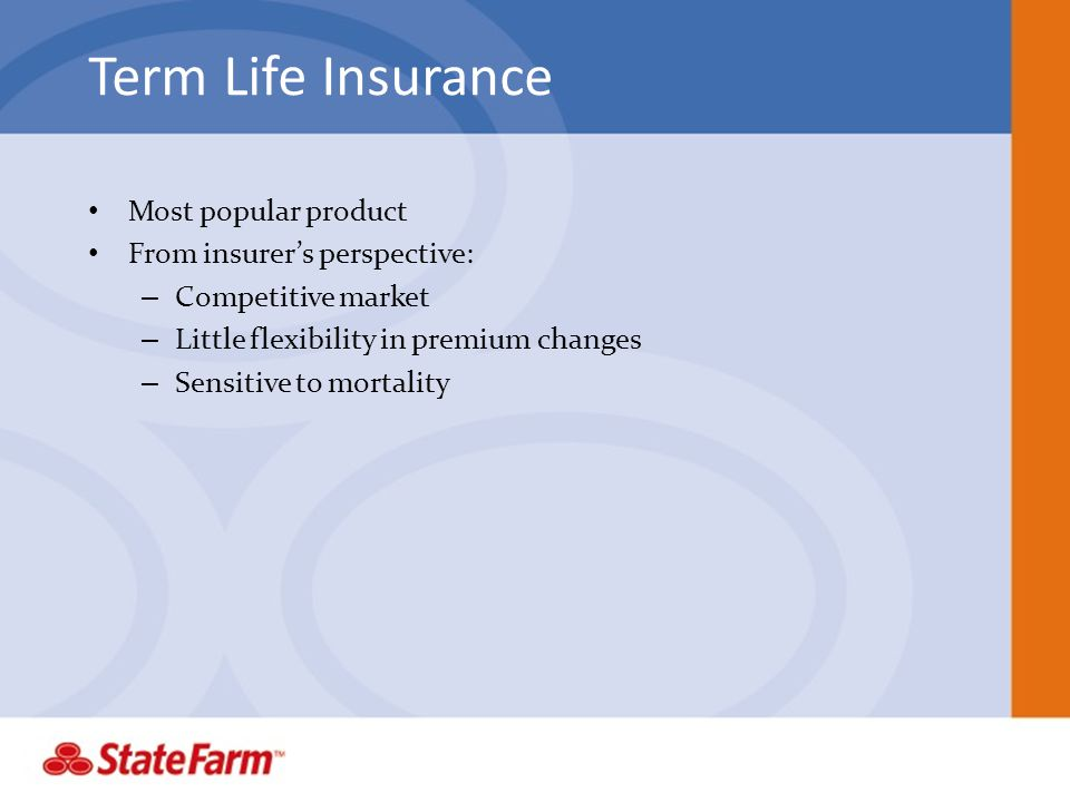 Term Life Insurance Most popular product From insurer's perspective: