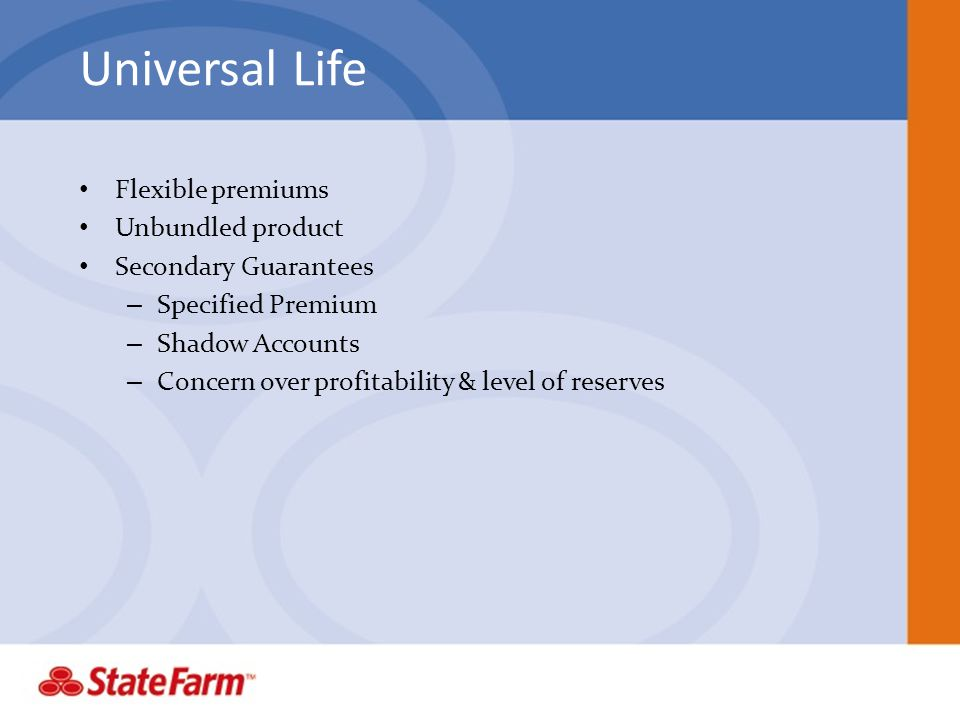 Universal Life Flexible premiums Unbundled product