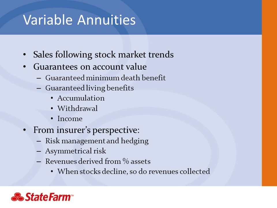 Variable Annuities Sales following stock market trends