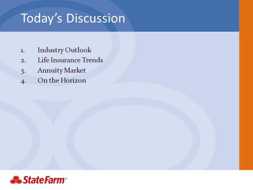 Today's Discussion Industry Outlook Life Insurance Trends