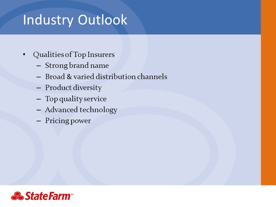Industry Outlook Qualities of Top Insurers Strong brand name